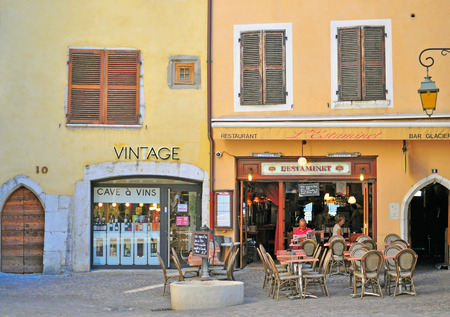 french cafe: ANNECY, FRANCE - AUGUST 22, 2015: French cafe restaurant in city centre of Annecy on August 22, 2015. Annecy is a capital of Haute Savoie province, France. Editorial