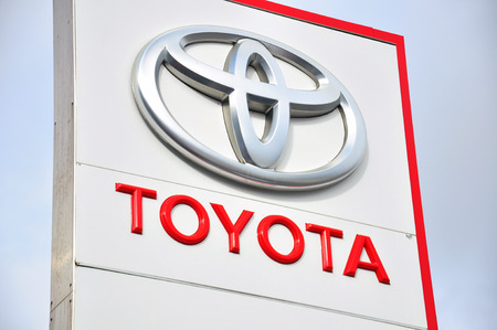 manufacturer: MOSCOW, RUSSIA - OCTOBER 10, 2015 : Logotype of Toyota corporation on October 10, 2015. Toyota is the Japanese automotive manufacturer. Editorial
