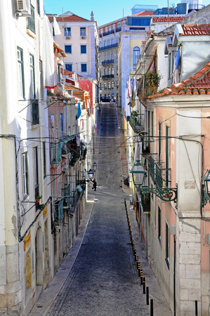 baixa: Narrow street of Lisbon, Portugal