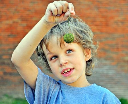 Retrato de un niño con una castaña