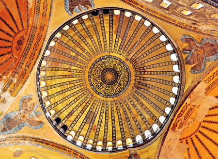 constituting: ISTANBUL, TURKEY - NOVEMBER 10: Details of interior of Hagia Sophia church, Istanbul on November 10, 2012. Istanbul is the largest city in Turkey, constituting the countrys cultural and historical heart.