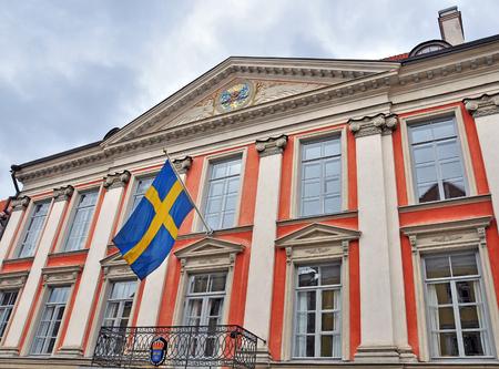 scandinavian peninsula: TALLINN, ESTONIA - APRIL 30, 2013: Facade of the Swedish consulate building in Tallinn, Estonia on April 30, 2013. Sweden is an european country located in Scandinavian peninsula.