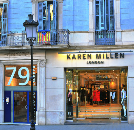 paseo: BARCELONA, SPAIN - FEBRUARY 5: Karen Millen flagship store in Paseo de Gracia, Barcelona on February 5, 2015. Chanel is a french world famous luxury brand.