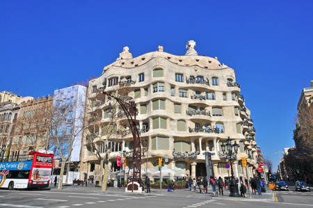 paseo: BARCELONA, SPAIN - FEBRUARY 8: Facade of Casa Mila on Paseo de Gracia in Barcelona on February 8, 2015. Barcelona is the second largest city of Spain.