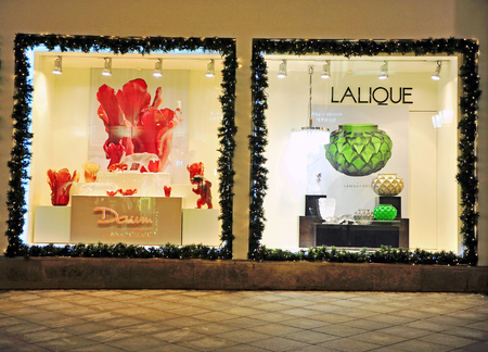 couture: MOSCOW, RUSSIA - DECEMBER 20: Facade of Lalique flagship store in Moscow on December 20, 2015. Lalique is a world famous luxury fashion couture.