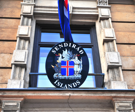 nordic country: HELSINKI, FINLAND - JANUARY 4: Facade of the icelandic embassy in Helsinki on January 4, 2016. Iceland is a Nordic country located between the North Atlantic and the Arctic Ocean.