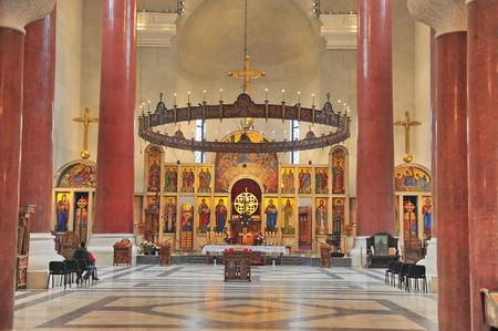 belgrade: BELGRADE, SERBIA - APRIL 30: Inteiror of Saint Savva Church in Belgrade on April 30, 2016. Belgrade is a capital and largest city of Serbia.