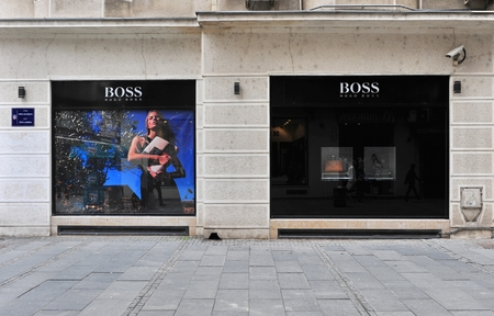 flagship: BELGRADE, SERBIA - APRIL 30: View of Hugo Boss flagship store in Belgrade on April 30, 2016. Hugo Boss is a world famous fashion house founded in Germany.