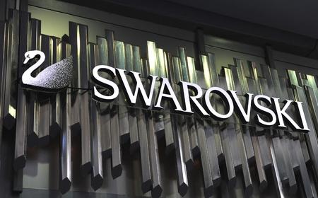swarovski: BELGRADE, SERBIA - APRIL 30: Logotype of Swarovski  in Belgrade on April 30, 2016. Swarovski is an Austrian producer of luxury goods.