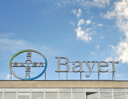 barmen: SOFIA, BULGARIA - MAY 5: Logotype of Bayer commpany in Sofia on May 5, 2016. Bayer is a German chemical company founded in Barmen.