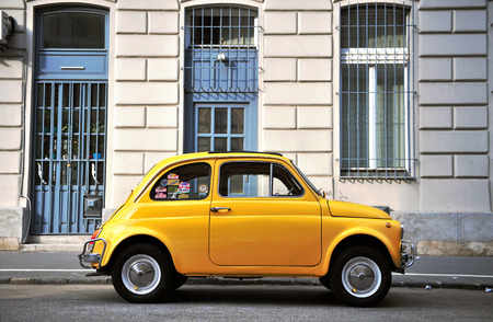 old fashioned car: BUDAPEST, HUNGARY - MAY 18: Old fashioned car parked in the street of Budapest on May 18, 2016.