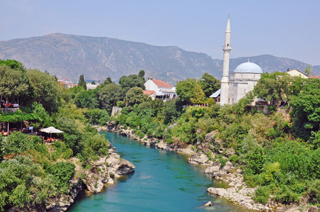 hercegovina: View of Mostar old town, Bosnia and Hercegovina Stock Photo