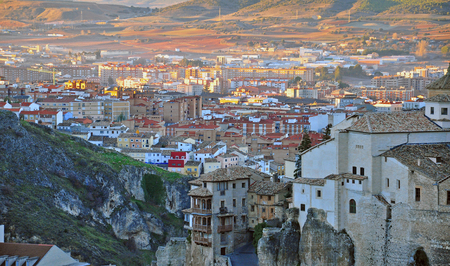 cuenca: Panorama of Cuenca old town, Spain Stock Photo