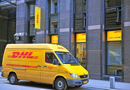 BUDAPEST, HUNGARY - MAY 20: FDHL van in the street of Budapest city on May 20, 2016. DHL Express is a division of the German worldwide logistics company. Editorial