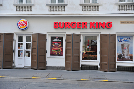 king street: BUDAPEST, HUNGARY - MAY 20: Facade of Burger king restaurant in the street of Budapest on May 20, 2016. Burger King is a global chain of fast-food restaurants.