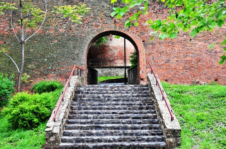 surrounding wall: Stairs to the medieval surrounding wall in Sibiu, Romania