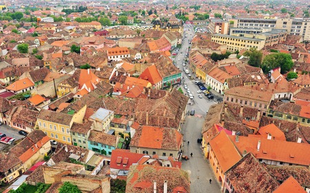 Old roofs of Sibiu city centre, Romania Stock Photo