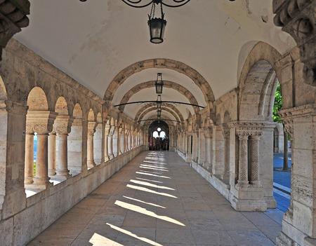 bastion: Columns of Fishermans bastion, Budapest city, Hungary