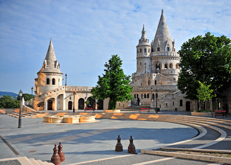 schulek: BUDAPEST, HUNGARY - MAY 20: View of Fishermans Bastion with a nice morning sunlight in Budapest city on May 20, 2016. Fishermans Bastion is a terrace in neo-Gothic and neo-Romanesque style in Budapest, Hungary.