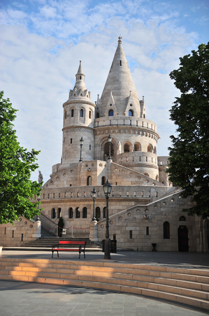 bastion: Towers of Fisherman bastion, Budapest city, Hungary Editorial