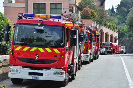 PARIS, FRANCE - JUNE 17: Fire engines in the street of Monte-Carlo, Monaco on June 17, 2011. Editorial