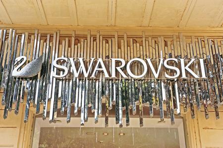 swarovski: BAKU, AZERBAIJAN - SEPTEMBER 25: Logotype of Swarovski flagship store in Baku on September 25, 2016.