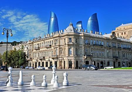 baku: BAKU, AZERBAIJAN - SEPTEMBER 25: National Flag square of Baku on September 25, 2016. Baku is a capital and largest city of Azerbaijan.
