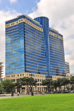 baku: BAKU, AZERBAIJAN - SEPTEMBER 25: Facade of the Hilton hotel in Baku on September 25, 2016. Baku is a capital and largest city of Azerbaijan.