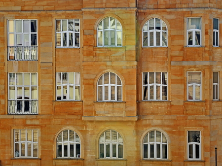 caspian: Windows of a house in old town of Baku Stock Photo