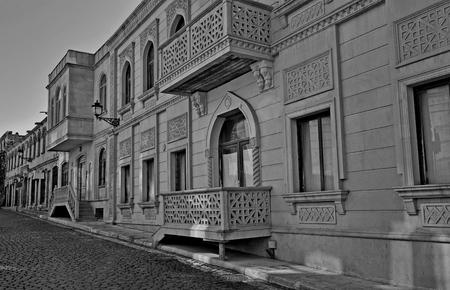 baku: Monochrome view of a street of Baku old town Stock Photo