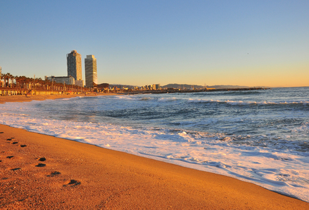View of the beach of Barcelona city, Spain