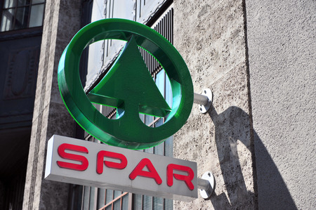 spar: VIENNA, AUSTRIA - JUNE 6: Logotype of Spar in Vienna on June 6, 2016. Spar is the global grocery multinational retail chain founded in Netherlands.