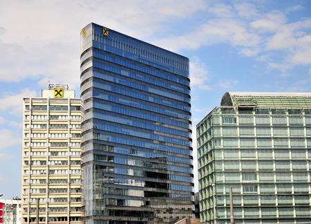 cooperativismo: VIENNA, AUSTRIA - JUNE 6: Office towers of Raiffeisen bank in Vienna on June 6, 2016. Raiffeisen is an austrian group of cooperative banks. Editorial