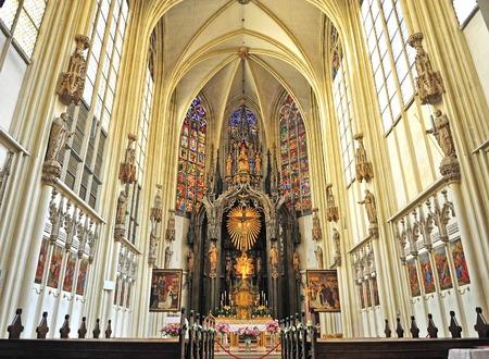 catholic chapel: VIENNA, AUSTRIA - JUNE 6: Interior of an catholic chapel in Vienna city, Austria on June 6, 2016.