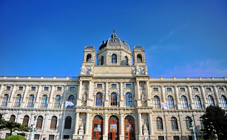 VIENNA, AUSTRIA - JUNE 6: Facade of Natural History Museum in Vienna, Austria on June 6, 2016. Vienna is a capital and largest city of Austria. Editorial
