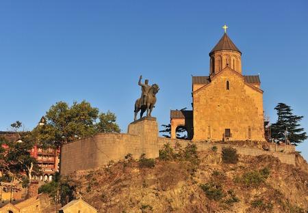 Metekhi Church and the equestrian statue of King Vakhtang Gorgasali on sunset, Tbilisi, Georgia