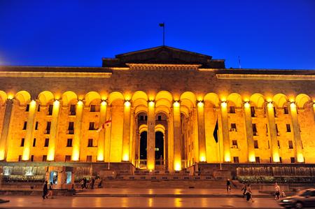 rustaveli: Tbilisi parliament building at night, Georgia Stock Photo