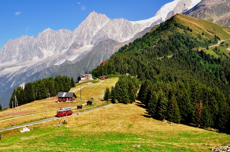 tramway: Touristic tramway in french Alps on summer Stock Photo