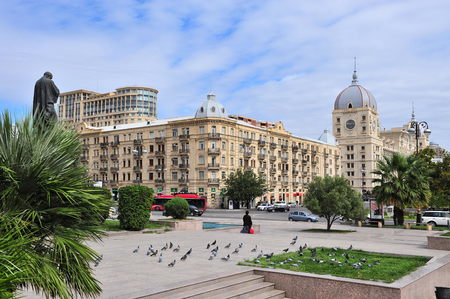 BAKU, AZERBAIJAN - SEPTEMBER 26: View of boulevard in Fizuli street, Baku on September 26, 2016. Baku is a capital and largest city of Azerbaijan. Editorial