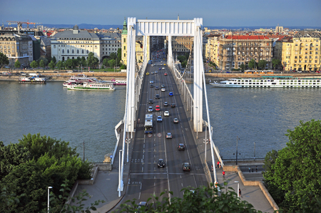 elisabeth: BUDAPEST, HUNGARY - MAY 23: Elisabeth bridge and Budapest city centre on May 23, 2016. Budapest is the capital and largest city of Hungary.