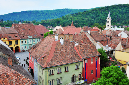 SIBIU, ROMANIA - MAY 5: Top view of Sighisoara old town, Romania on May 5, 2016. Sibiu is the city located in Transylvania region of Romania.