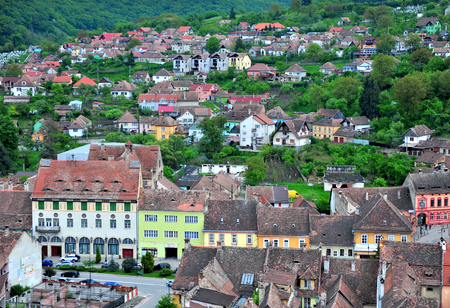 SIBIU, ROMANIA - MAY 5: Colourful houses of Sighisoara old town, Romania on May 5, 2016. Sibiu is the city located in Transylvania region of Romania.