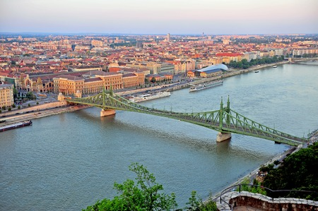 View of Liberty bridge and Budapest city centre