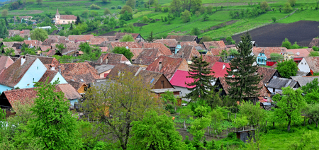 Panoramic view of Biertan village, transylvania province, Romania