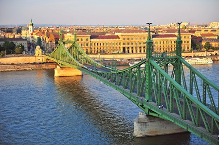 waterfront property: Top view of Liberty bridge and Budapest city, Hungary