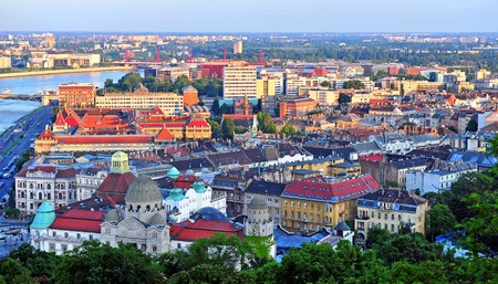 일몰, 헝가리의 수도 부다페스트 스카이 라인
