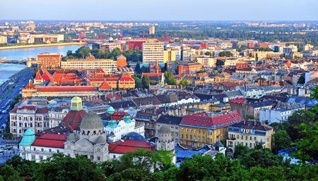 Budapest skyline on sunset, capital of Hungary 스톡 콘텐츠