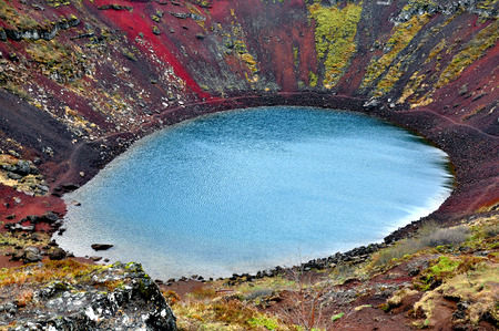 Scenic view of Kerid volcanic crater, Iceland