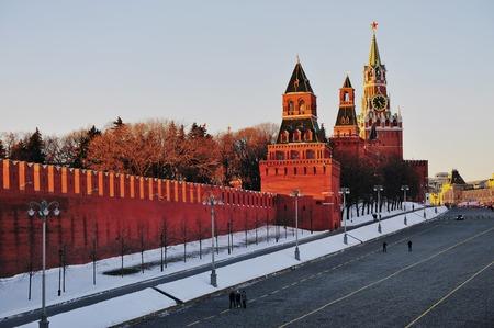 View of Kremlin brick wall on winter, Russia