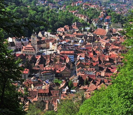 Top view of Brasov old town, Romania